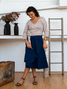 Wrap Skirt Short - Indigo-Women-The ANJELMS Project