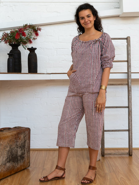 Peasant Top - Red Pinstripe-Women-The ANJELMS Project