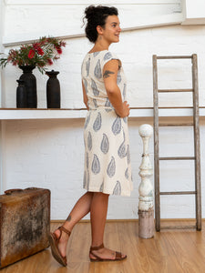 Cap Sleeve Dress - Kashmiri Leaf-Women-The ANJELMS Project