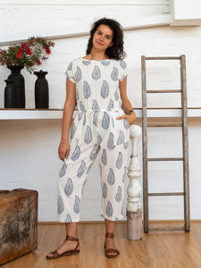Drawstring Jumpsuit - Kashmiri Leaf-Women-The ANJELMS Project