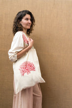 Load image into Gallery viewer, Handloom Tote Bag - Coral Print-Accessories-The ANJELMS Project