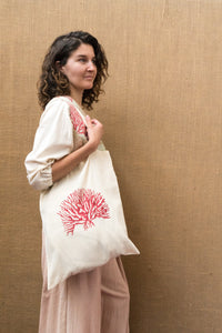 Handloom Tote Bag - Coral Print-Accessories-The ANJELMS Project