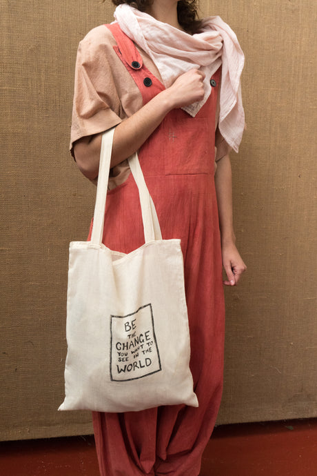 Handloom Tote Bag - Be The Change-Accessories-The ANJELMS Project