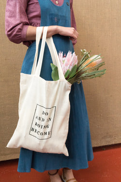 Handloom Tote Bag - Do And In Doing Become