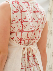 Tie Apron Shift Dress - Fence Print