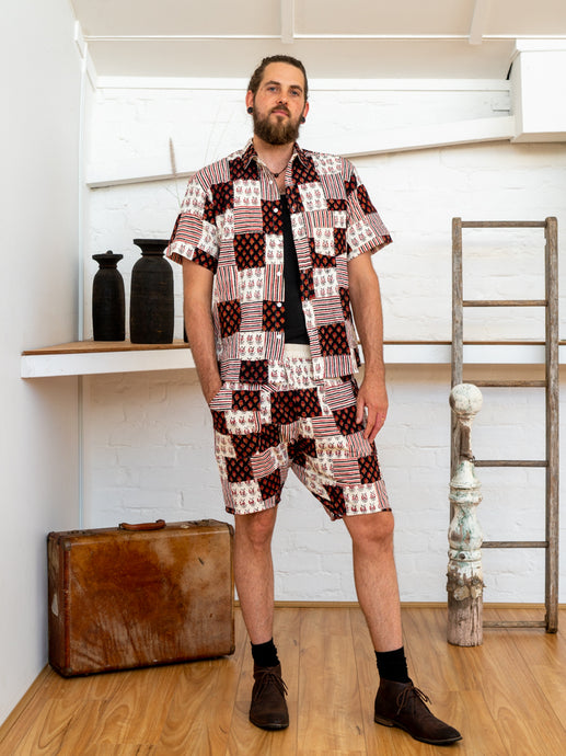 Short Sleeve Men Shirt - Black/White Print Patchwork-Men-The ANJELMS Project