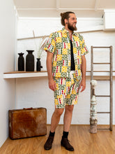Load image into Gallery viewer, Short Sleeve Men Shirt - Diamond Print Patchwork-Men-The ANJELMS Project
