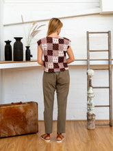 Load image into Gallery viewer, Shell Top - Black/White Print Patchwork-Women-The ANJELMS Project