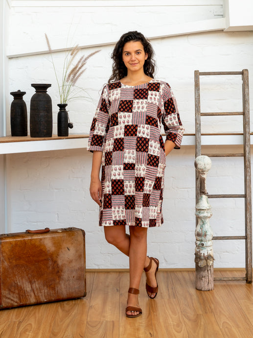 Half Sleeve Dress - Black/White Print Patchwork-Women-The ANJELMS Project