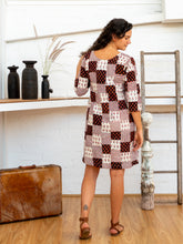 Load image into Gallery viewer, Half Sleeve Dress - Black/White Print Patchwork-Women-The ANJELMS Project