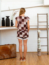 Load image into Gallery viewer, Drawstring Tab Shorts - Black/White Patchwork-Women-The ANJELMS Project