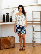 Load image into Gallery viewer, Drawstring Tab Shorts - Indigo Print Patchwork-Women-The ANJELMS Project