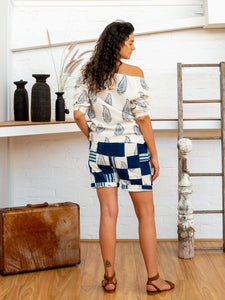 Drawstring Tab Shorts - Indigo Print Patchwork-Women-The ANJELMS Project