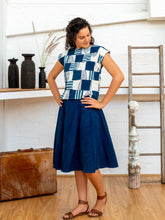 Load image into Gallery viewer, Shell Top - Indigo Print Patchwork-Women-The ANJELMS Project