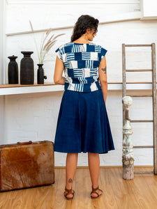 Shell Top - Indigo Print Patchwork-Women-The ANJELMS Project