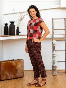 Shell Top - Red Print Patchwork-Women-The ANJELMS Project
