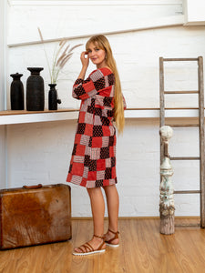 Half Sleeve Dress - Red Print Patchwork-Women-The ANJELMS Project