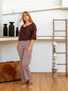 Long Pocket Pants - Red Pinstripe-Women-The ANJELMS Project