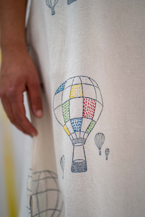 Sleeveless Shift - Balloon Print Embroidered