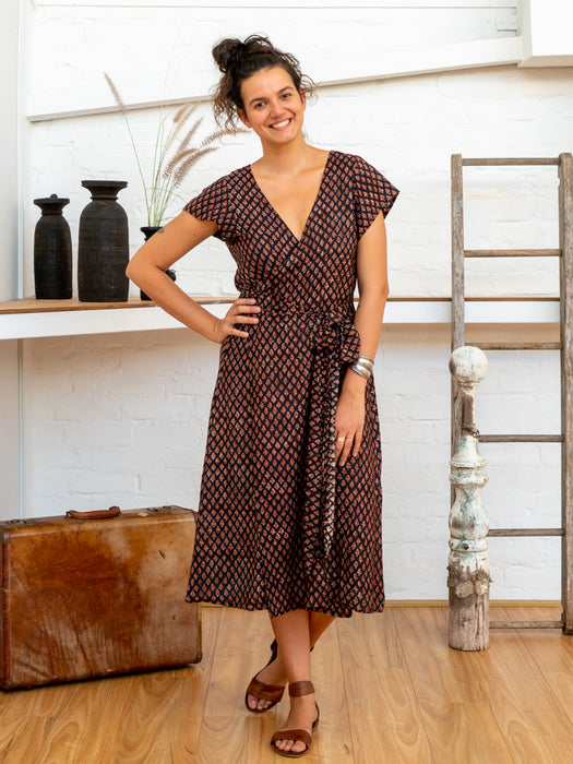 Tie Wrap Dress - Jaipur Floral-Women-The ANJELMS Project