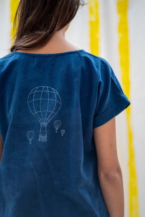 Short Sleeve Top - Indigo with Balloon Print