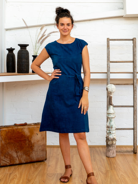 Cap Sleeve Dress - Indigo-Women-The ANJELMS Project