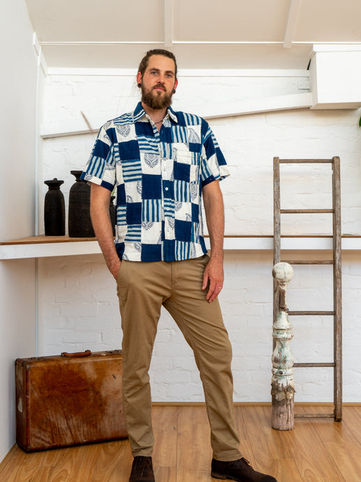 Short Sleeve Men Shirt - Indigo Print Patchwork-Men-The ANJELMS Project