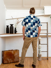 Load image into Gallery viewer, Short Sleeve Men Shirt - Indigo Print Patchwork-Men-The ANJELMS Project