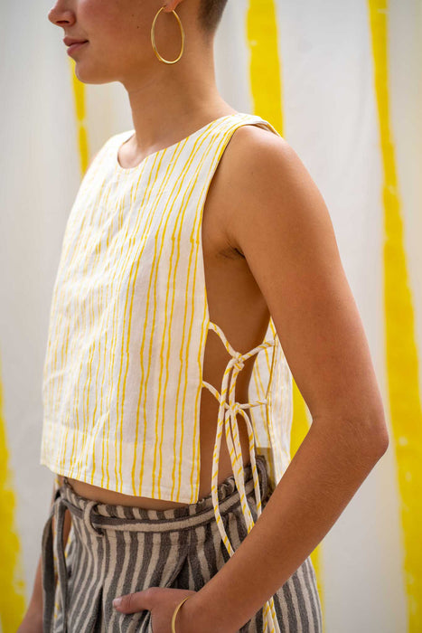Tank Tie Top - Yellow Stripe Print