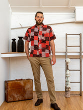 Load image into Gallery viewer, Short Sleeve Men Shirt - Red Print Patchwork-Men-The ANJELMS Project