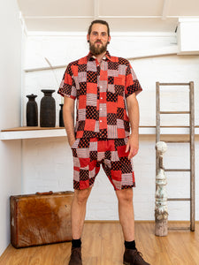 Short Sleeve Men Shirt - Red Print Patchwork-Men-The ANJELMS Project