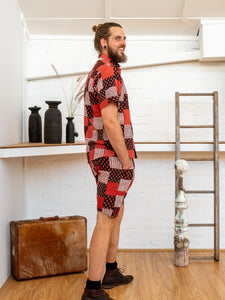 Men Shorts - Red Print Patchwork-Men-The ANJELMS Project