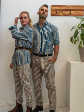 Load image into Gallery viewer, Unisex Button Up Shirt - Indigo Stripe