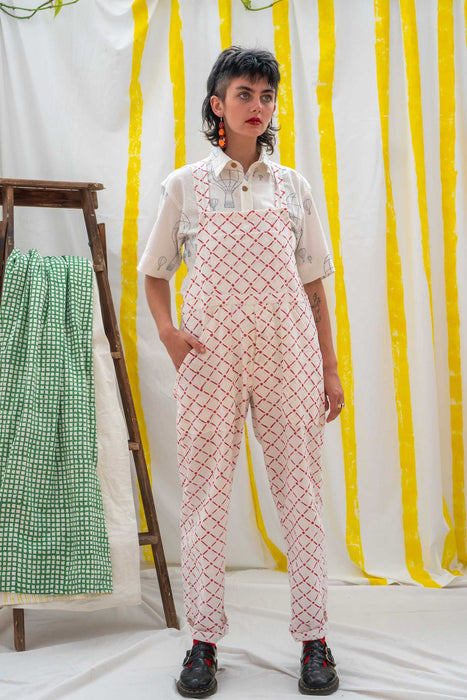 Work Overalls - Red Tile Print
