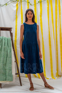 Dropwaist Dress - Indigo with Balloon Print