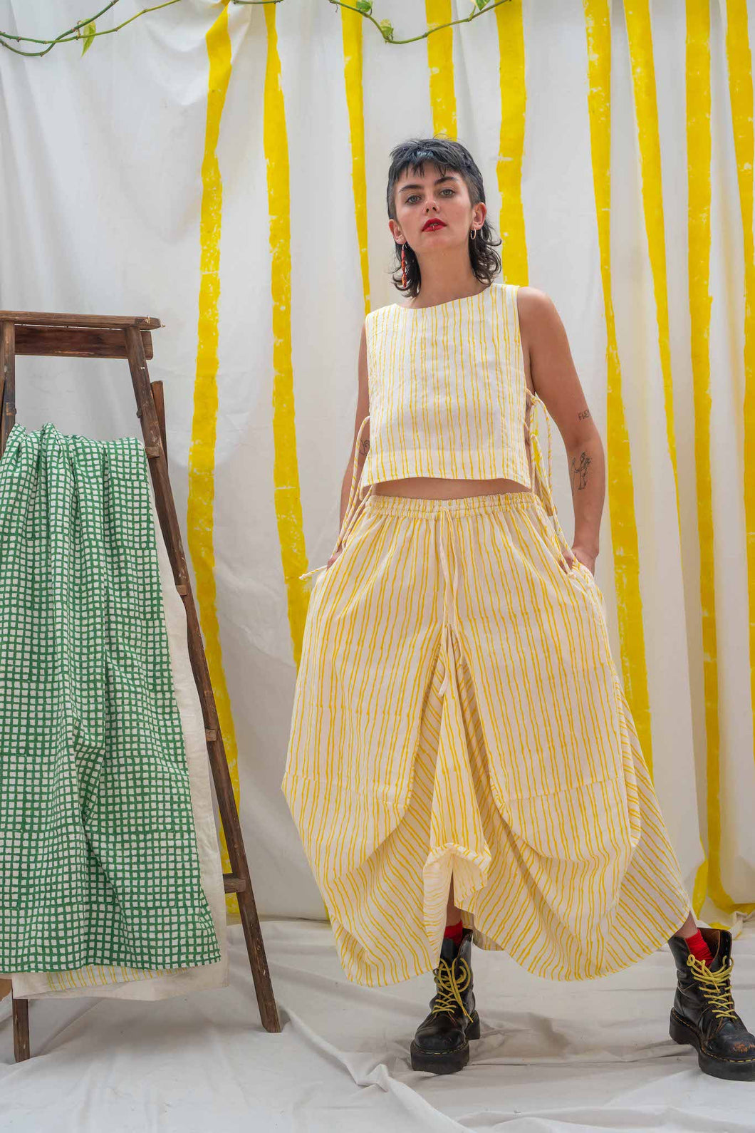 Nepalese Long Skirt - Yellow Stripe Print