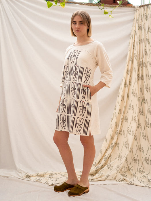 Yoke Dress - Cane Bench Print