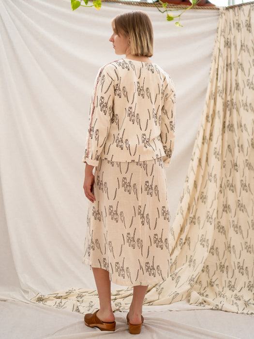 Pull Long Skirt - People Gathering Print