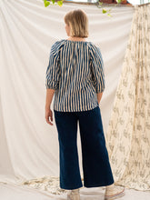 Load image into Gallery viewer, Peasant Top - Indigo Stripe & Hand Print