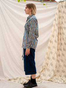Unisex Button Up Shirt - Indigo Stripe