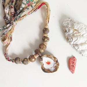 Silk Necklace - White Shell