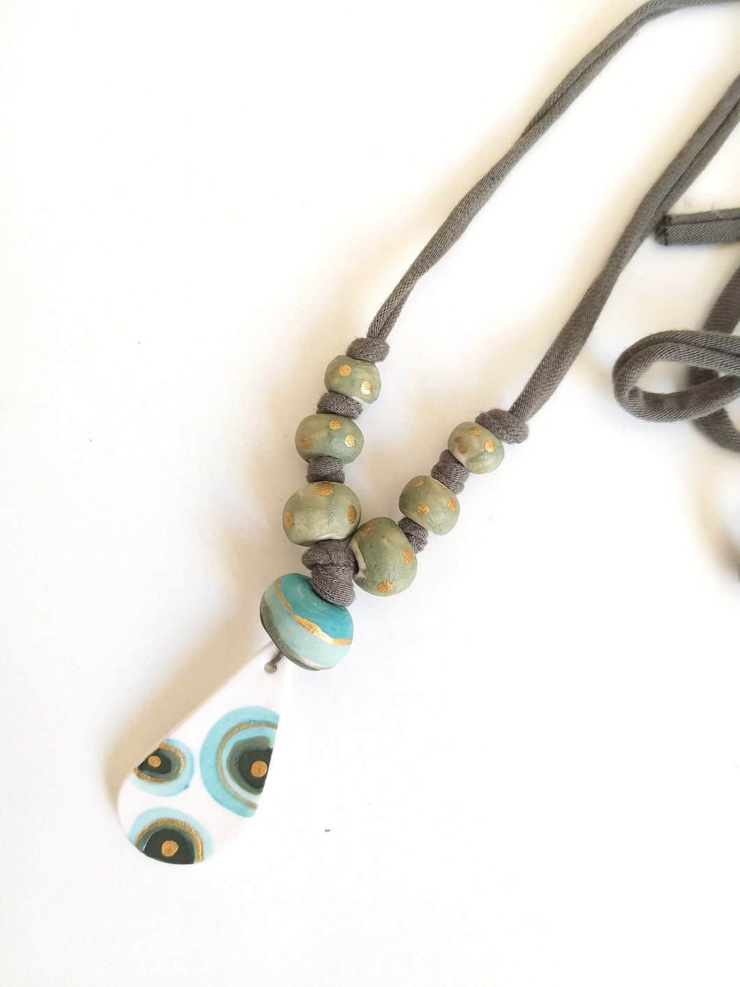 Cotton Necklace - Green Minimalist