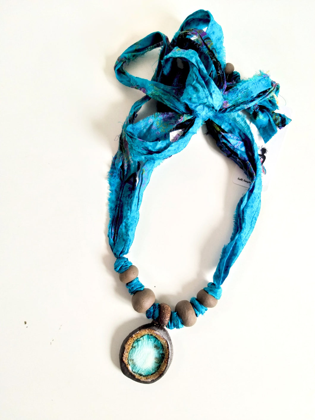 Silk Necklace - See Through Me - Blue