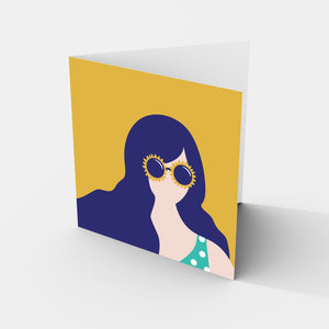 Sunglasses Girl - Greeting Card