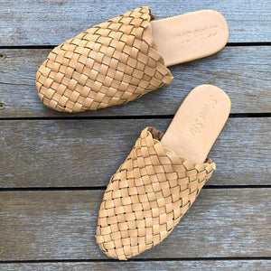 Leather Woven Loafer Slide