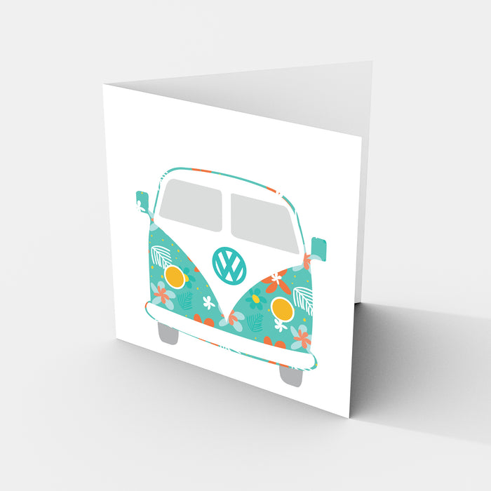 Combi Van Flower Power - Greeting Card