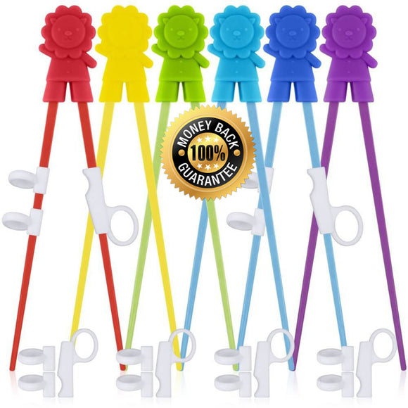 6 Pairs Kids Training Chopsticks Set with Helpers For Children