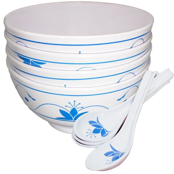 Traditional Japanese 4 Melamine 24oz Noodle Soup Bowls and Spoons Blue Lotus