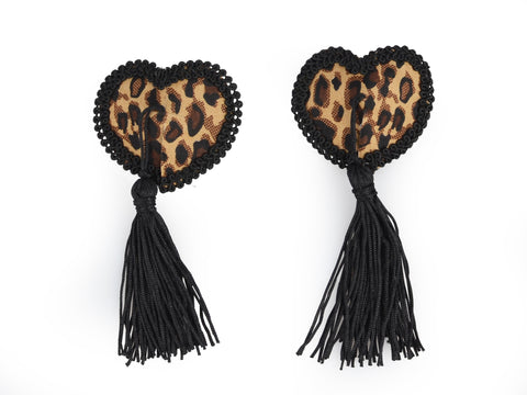 Toynary SM05 Leopard Heart-Shape Nipple Covers - With Playful Tassels