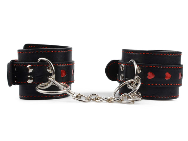 Toynary SM16 Heart-Patterned Leather Handcuffs - Black